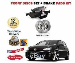 Pour Volkswagen VW Golf 2.0 TSI Gti MK6 2009- avant Kit Disque Frein + Patins