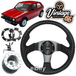 VW Golf Mk1 Gti Cuir Noir Motorsport Style Volant de Direction, Boss Kit & Klaxon